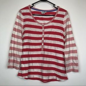 Boden striped pink white 3/4 sleeve top shirt